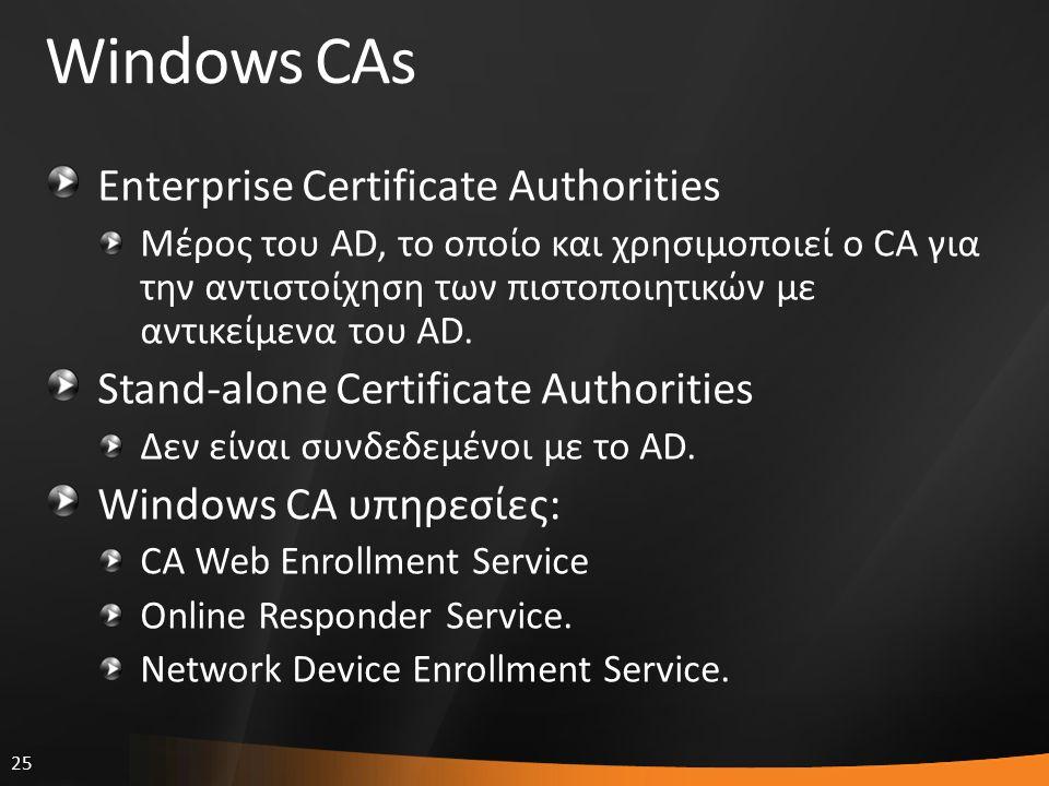 25 Windows CAs Enterprise Certificate Authorities Μέρος του AD, το οποίο και χρησιμοποιεί ο CA για την αντιστοίχηση των πιστοποιητικών με αντικείμενα