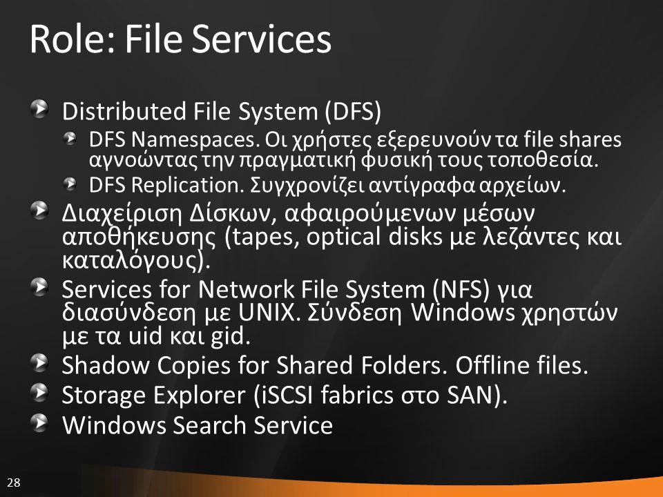 28 Role: File Services Distributed File System (DFS) DFS Namespaces. Οι χρήστες εξερευνούν τα file shares αγνοώντας την πραγματική φυσική τους τοποθεσ