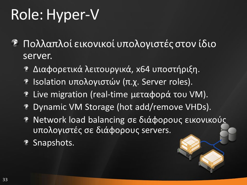 33 Role: Hyper-V Πολλαπλοί εικονικοί υπολογιστές στον ίδιο server. Διαφορετικά λειτουργικά, x64 υποστήριξη. Isolation υπολογιστών (π.χ. Server roles).