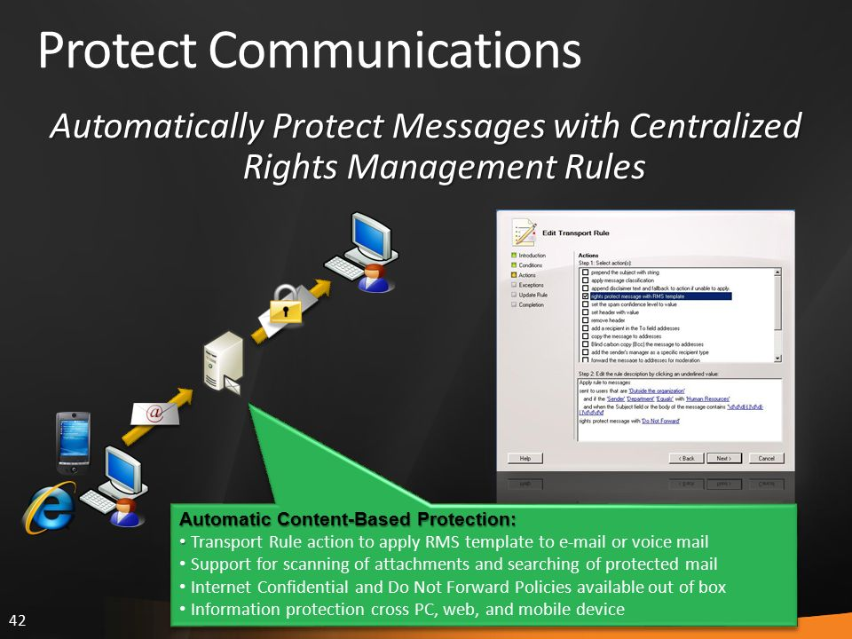 42 Protect Communications Automatic Content-Based Protection: Transport Rule action to apply RMS template to e-mail or voice mail Support for scanning