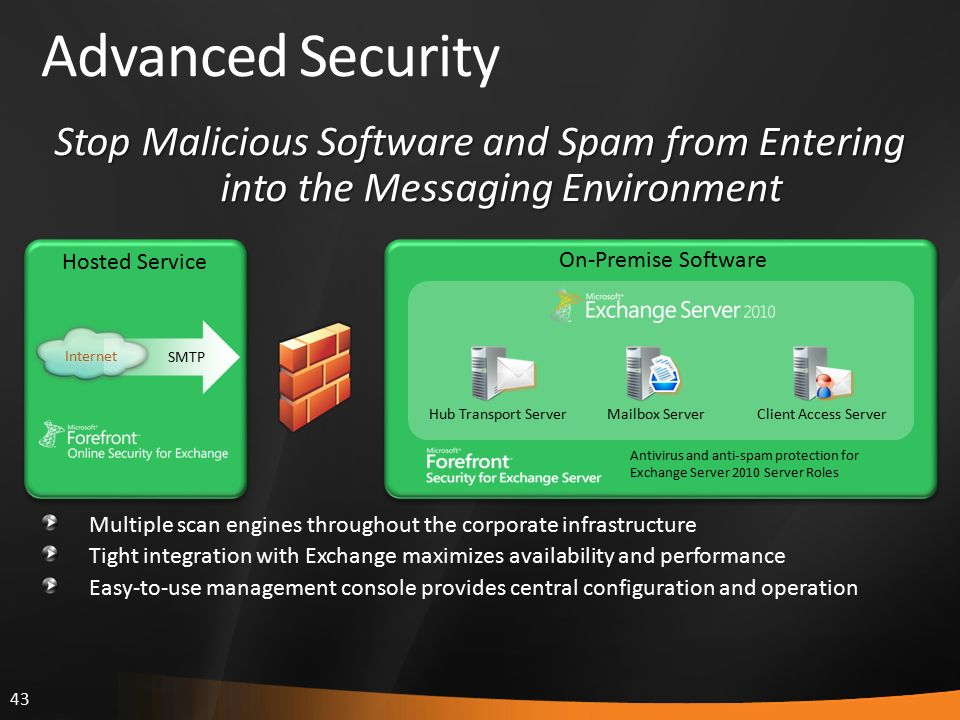 43 Advanced Security Multiple scan engines throughout the corporate infrastructure Tight integration with Exchange maximizes availability and performance Easy-to-use management console provides central configuration and operation Antivirus and anti-spam protection for Exchange Server 2010 Server Roles On-Premise Software Hosted Service Hub Transport ServerMailbox ServerClient Access Server Internet SMTP Stop Malicious Software and Spam from Entering into the Messaging Environment