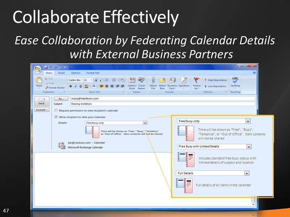 47 Collaborate Effectively Ease Collaboration by Federating Calendar Details with External Business Partners