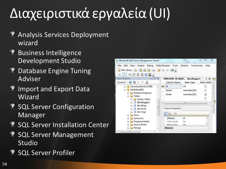 58 Διαχειριστικά εργαλεία (UI) Analysis Services Deployment wizard Business Intelligence Development Studio Database Engine Tuning Adviser Import and