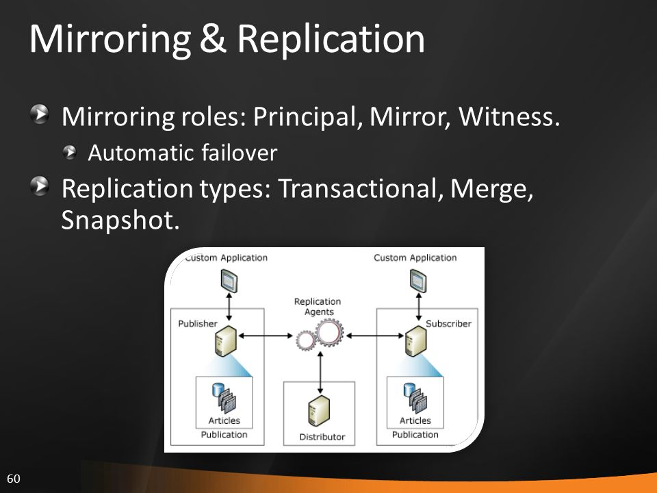 60 Mirroring & Replication Mirroring roles: Principal, Mirror, Witness. Automatic failover Replication types: Transactional, Merge, Snapshot.