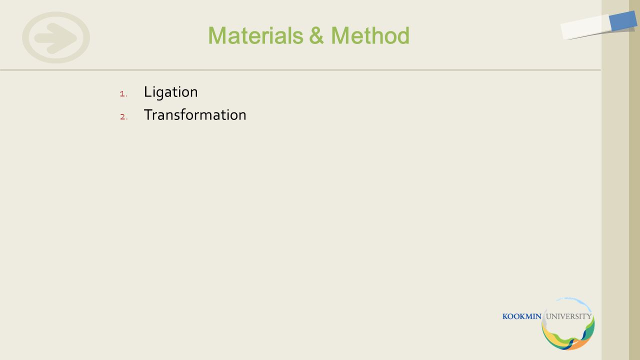 1. Ligation 2. Transformation Materials & Method