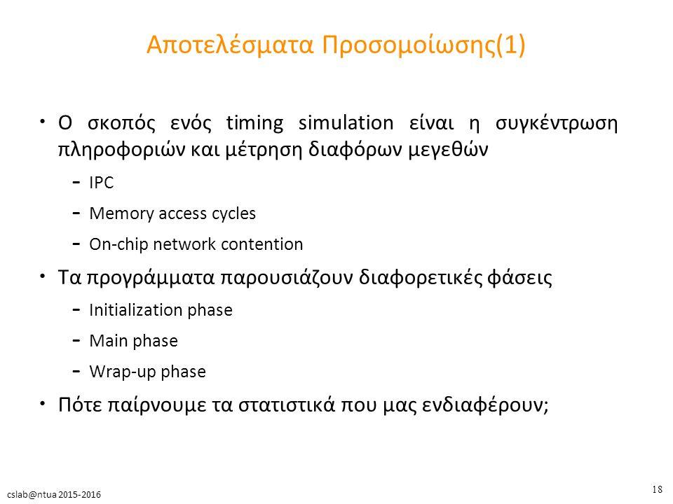 18 cslab@ntua 2015-2016 Αποτελέσματα Προσομοίωσης(1) Ο σκοπός ενός timing simulation είναι η συγκέντρωση πληροφοριών και μέτρηση διαφόρων μεγεθών – IPC – Memory access cycles – On-chip network contention Τα προγράμματα παρουσιάζουν διαφορετικές φάσεις – Initialization phase – Main phase – Wrap-up phase Πότε παίρνουμε τα στατιστικά που μας ενδιαφέρουν;