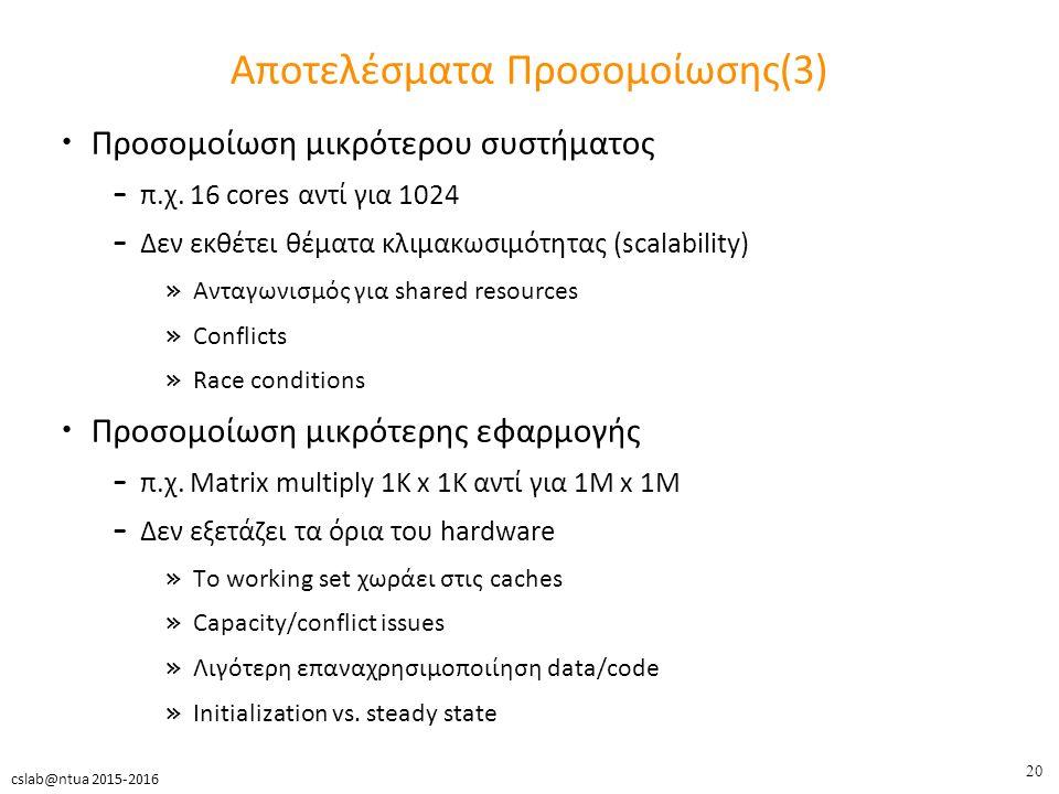 20 cslab@ntua 2015-2016 Αποτελέσματα Προσομοίωσης(3) Προσομοίωση μικρότερου συστήματος – π.χ.