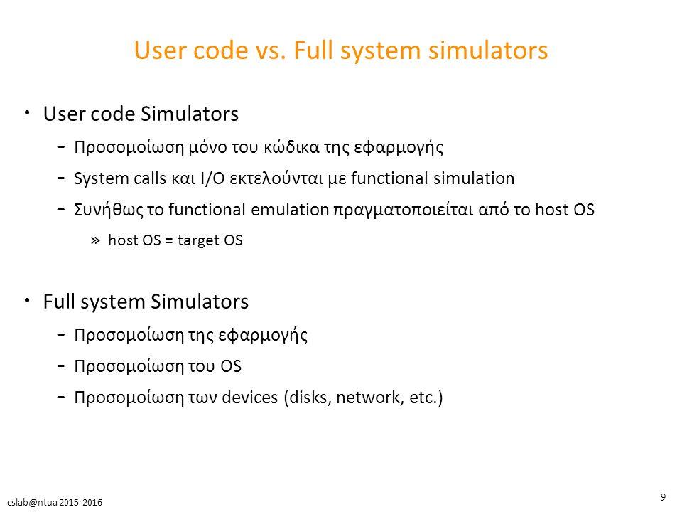 10 cslab@ntua 2015-2016 The Zen of architecture simulators Δεν υπάρχει ο τέλειος simulator FPGA prototypes – Γρήγορα, ακριβή, αλλά έλλειψη ευελιξίας Λεπτομερή software μοντέλα – Ακριβή, ευέλικτα, αλλά αργά Αφηρημένα software μοντέλα – Γρήγορα, ευέλικτα αλλά όχι ακριβή Speed Accuracy Flexibility