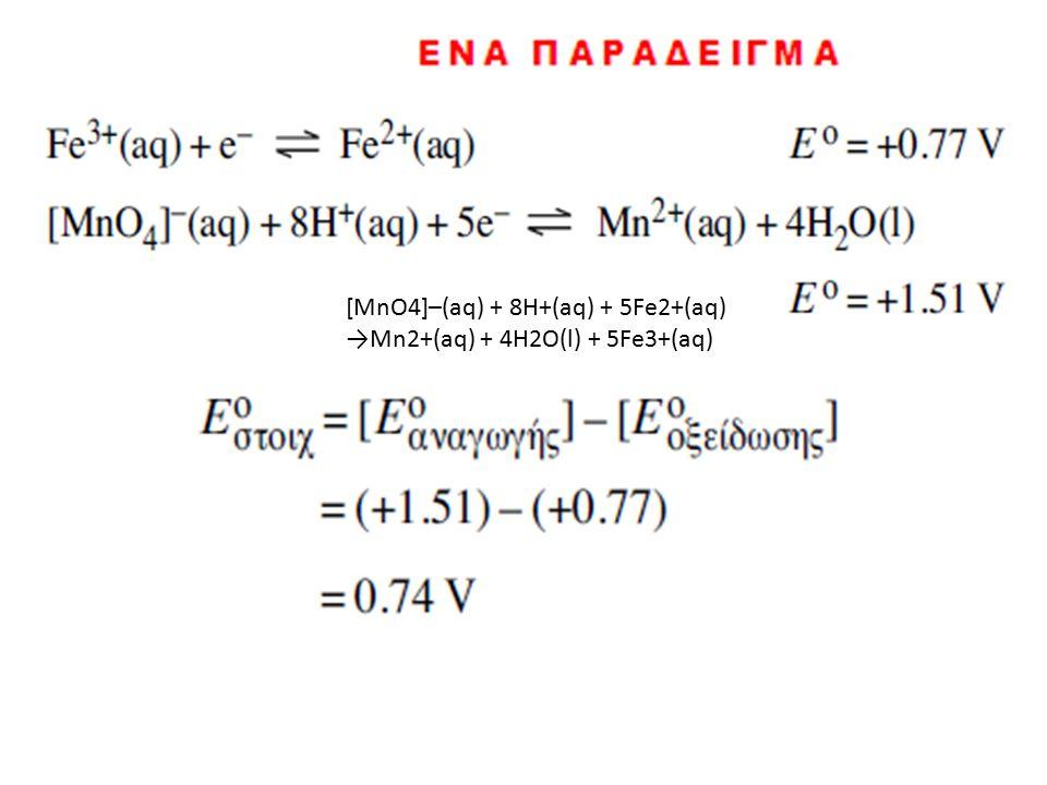 [MnO4]–(aq) + 8H+(aq) + 5Fe2+(aq) →Mn2+(aq) + 4H2O(l) + 5Fe3+(aq)