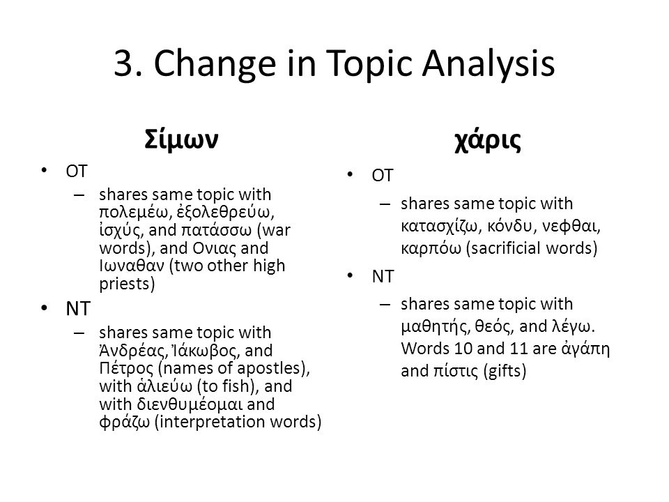 3. Change in Topic Analysis Σίμων OT – shares same topic with πολεμέω, ἐξολεθρεύω, ἰσχύς, and πατάσσω (war words), and Ονιας and Ιωναθαν (two other hi