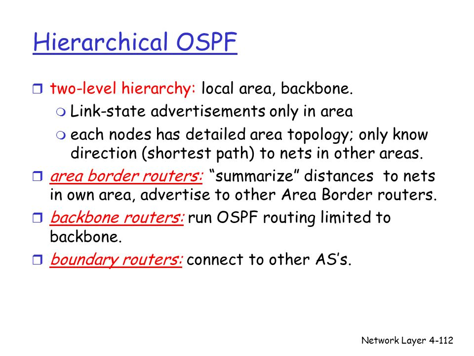 Network Layer4-112 Hierarchical OSPF r two-level hierarchy: local area, backbone.