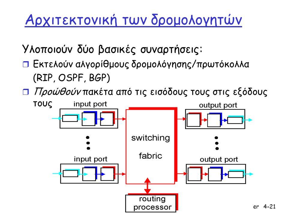Network Layer4-21 Αρχιτεκτονική των δρομολογητών Υλοποιούν δύο βασικές συναρτήσεις: r Εκτελούν αλγορίθμους δρομολόγησης/πρωτόκολλα (RIP, OSPF, BGP) r Προώθούν πακέτα από τις εισόδους τους στις εξόδους τους
