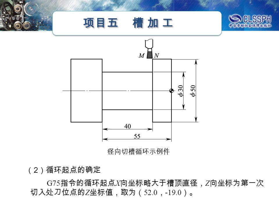 项目五 槽 加 工 步骤图例 精车槽侧、槽底及四处 R2mm 圆 角至尺寸 锐边倒钝,检查卸料 (转下页)