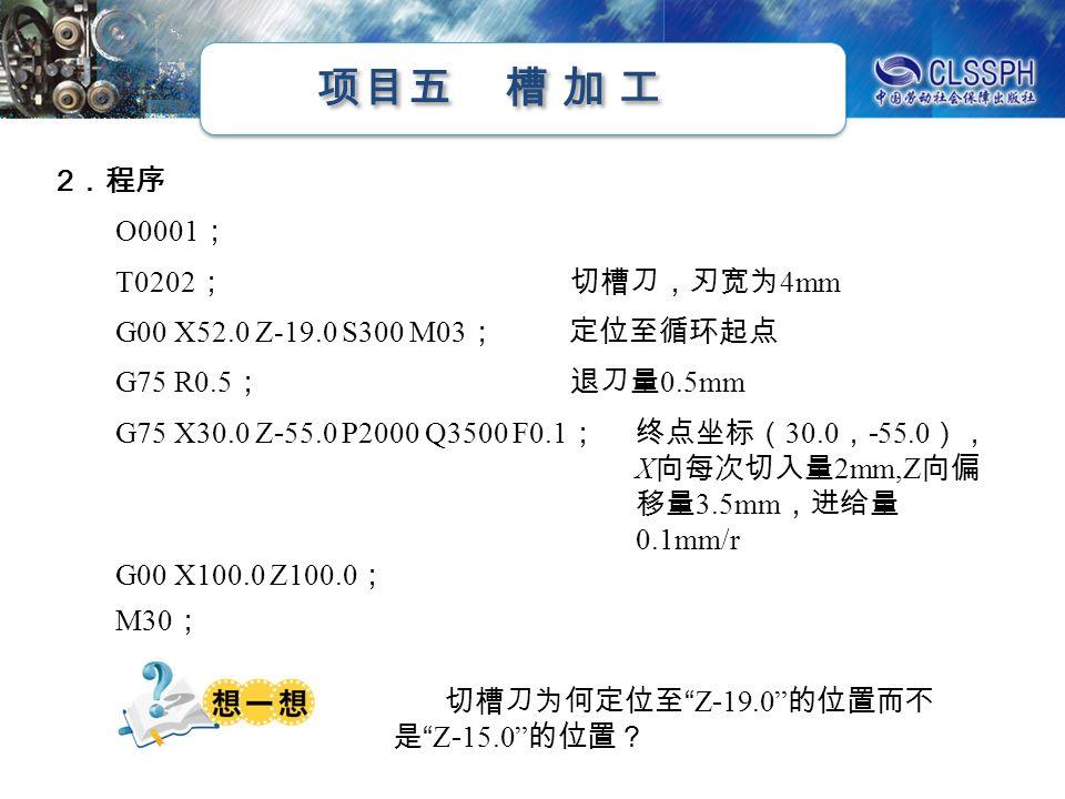 项目五 槽 加 工 2 .程序 O0001 ; T0202 ; 切槽刀,刃宽为 4mm G00 X52.0 Z-19.0 S300 M03 ; 定位至循环起点 G75 R0.5 ; 退刀量 0.5mm G75 X30.0 Z - 55.0 P2000 Q3500 F0.1 ; 终点坐标( 30.0 , - 55.0 ), X 向每次切入量 2mm,Z 向偏 移量 3.5mm ,进给量 0.1mm/r G00 X100.0 Z100.0 ; M30 ; 切槽刀为何定位至 Z - 19.0 的位置而不 是 Z - 15.0 的位置?