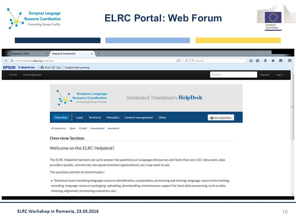 ELRC Workshop in Romania, 23.03.2016 ELRC Portal: Web Forum 19 Screen shot goes here