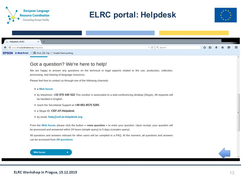 ELRC Workshop in Prague, 15.12.2015 ELRC portal: Helpdesk 13 Screen shot goes here