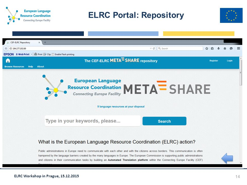 ELRC Workshop in Prague, 15.12.2015 ELRC Portal: Repository 14 Screen shot goes here
