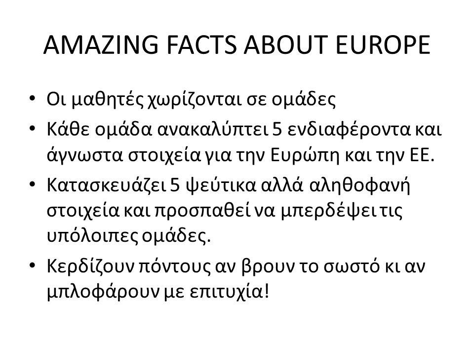 AMAZING FACTS ABOUT EUROPE Οι μαθητές χωρίζονται σε ομάδες Κάθε ομάδα ανακαλύπτει 5 ενδιαφέροντα και άγνωστα στοιχεία για την Ευρώπη και την ΕΕ.