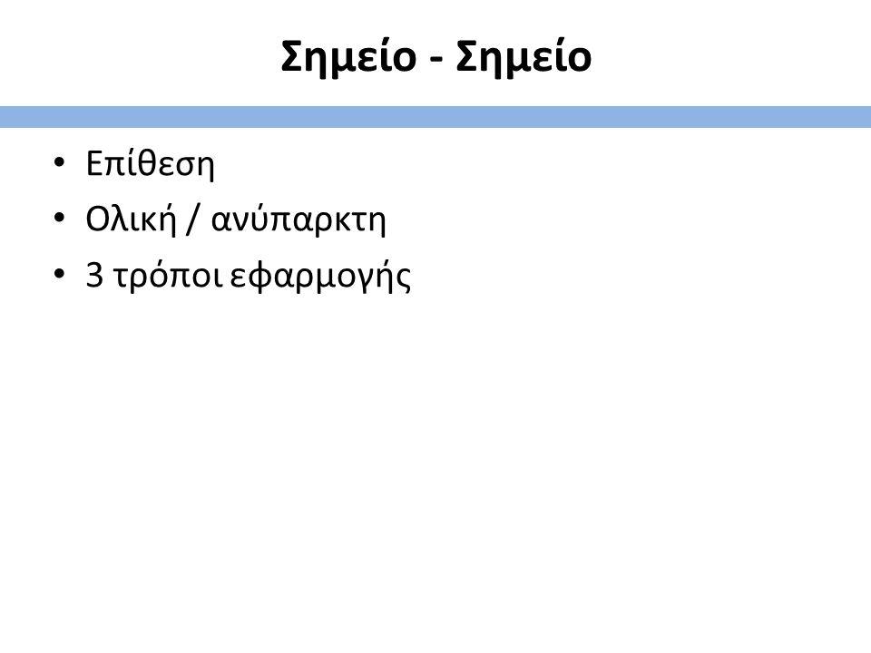 Σημείο - Σημείο Επίθεση Ολική / ανύπαρκτη 3 τρόποι εφαρμογής