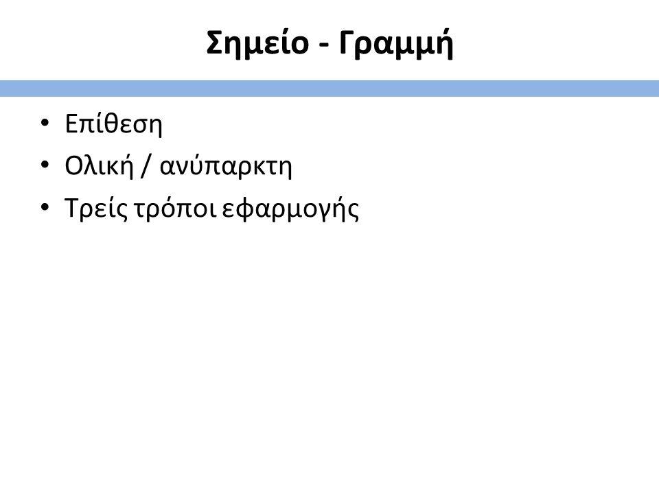 Σημείο - Γραμμή Επίθεση Ολική / ανύπαρκτη Τρείς τρόποι εφαρμογής