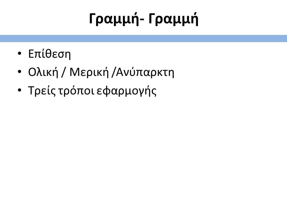 Γραμμή- Γραμμή Επίθεση Ολική / Μερική /Ανύπαρκτη Τρείς τρόποι εφαρμογής