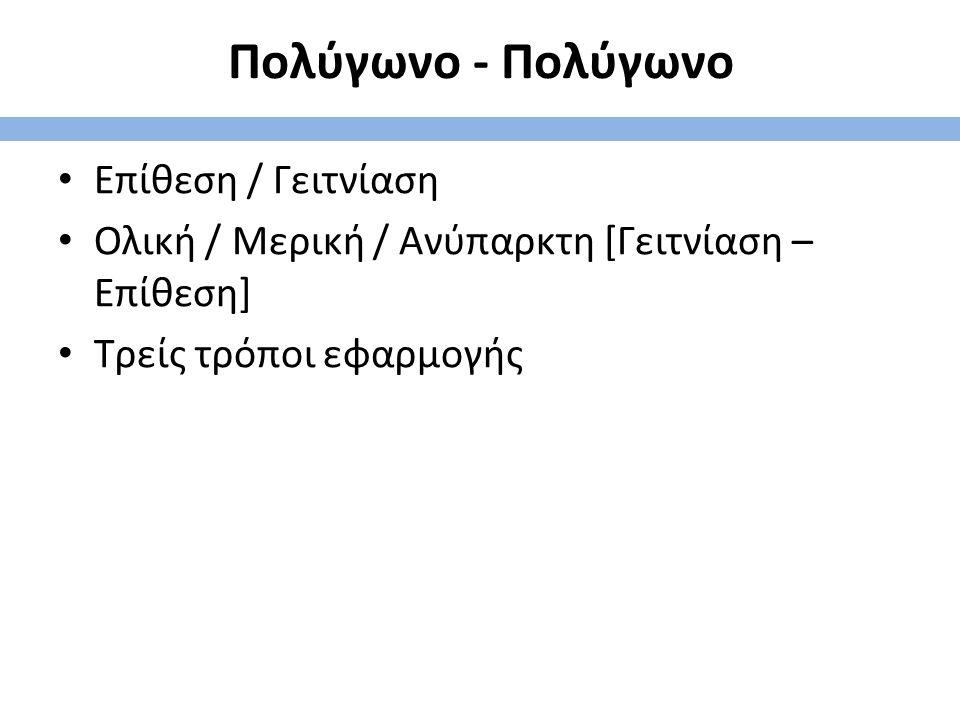 Πολύγωνο - Πολύγωνο Επίθεση / Γειτνίαση Ολική / Μερική / Ανύπαρκτη [Γειτνίαση – Επίθεση] Τρείς τρόποι εφαρμογής