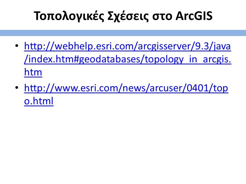Τοπολογικές Σχέσεις στο ArcGIS http://webhelp.esri.com/arcgisserver/9.3/java /index.htm#geodatabases/topology_in_arcgis. htm http://webhelp.esri.com/a