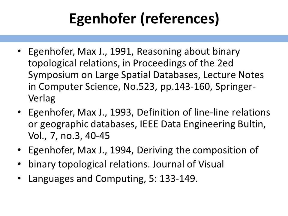 Egenhofer (references) Egenhofer, Max J.and Robert D.