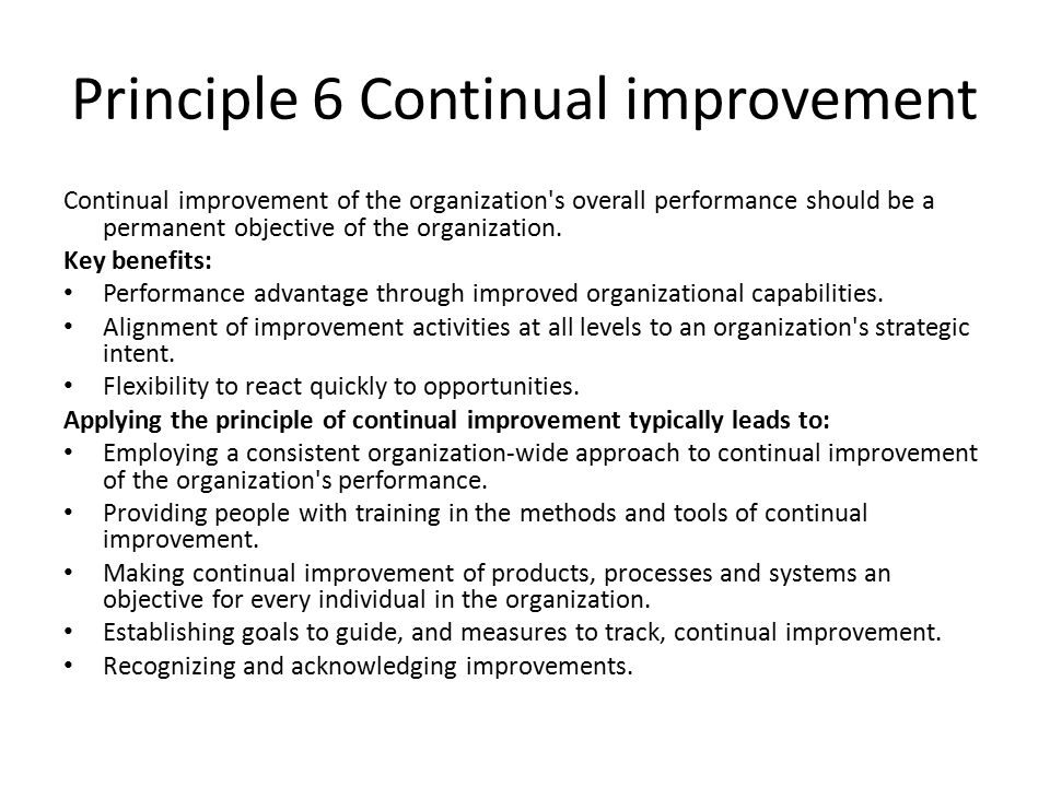 Principle 6 Continual improvement Continual improvement of the organization s overall performance should be a permanent objective of the organization.