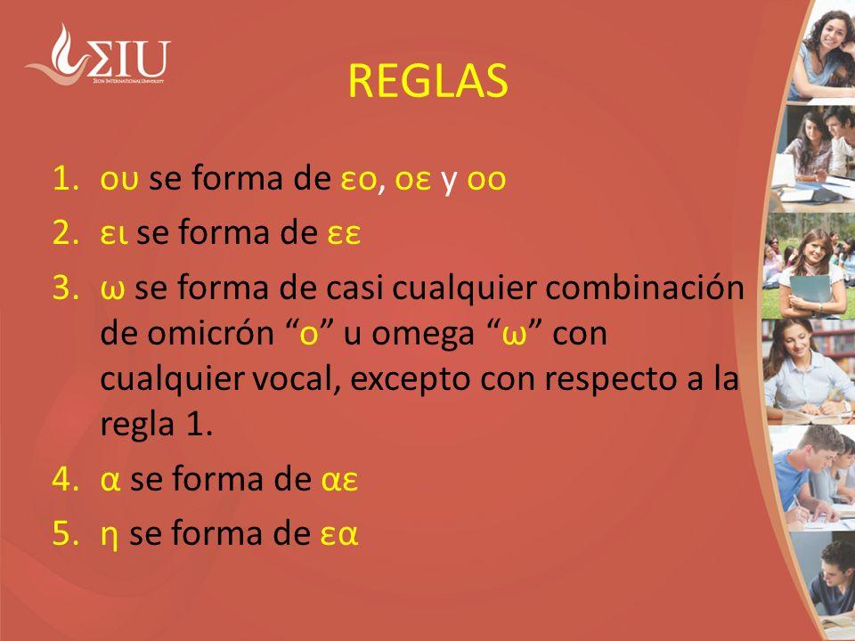 REGLAS 1.ου se forma de εο, οε y οο 2.ει se forma de εε 3.ω se forma de casi cualquier combinación de omicrón ο u omega ω con cualquier vocal, excepto con respecto a la regla 1.