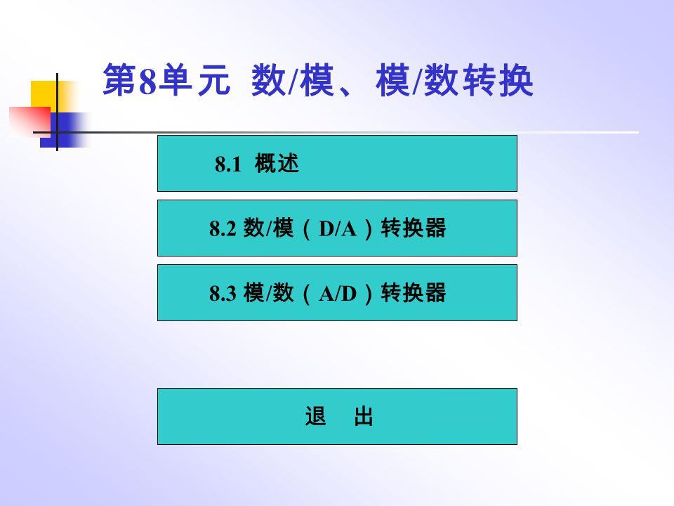 8.1 概述 8.2 数 / 模( D/A )转换器 8.3 模 / 数( A/D )转换器 退 出 第 8 单元 数 / 模、模 / 数转换