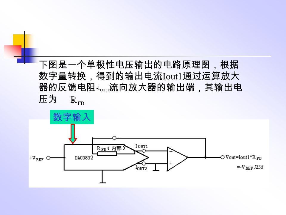 下图是一个单极性电压输出的电路原理图,根据 数字量转换,得到的输出电流 Iout1 通过运算放大 器的反馈电阻 流向放大器的输出端,其输出电 压为 。 数字输入