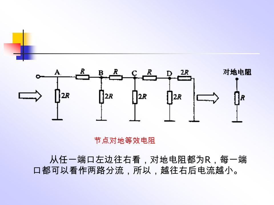 从任一端口左边往右看,对地电阻都为 R ,每一端 口都可以看作两路分流,所以,越往右后电流越小。 节点对地等效电阻