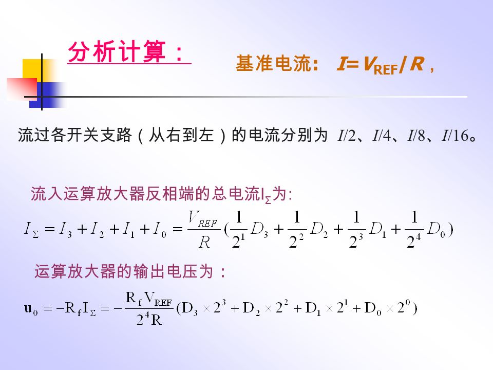 逐次逼近过程发析如表 : 即当 0.625V 电压输入该 D/A 转换器,相应输出的数字信号从 最高位到最低位排列是 101 。 顺序顺序脉 冲发生 器数码 逐次逼 近寄存 器数码 uA ( V )与输入 电压比 较结果 比较后逐 次逼近寄 存器锁存 结果 (启动 脉冲) 000 时钟脉 冲 1 100 0.50.5 0 . 625 >0.5 100 时钟脉 冲 2 110 0.750.625< 0.75 100 时钟脉 冲 3 1111010.6250.625= 0.625 101 时钟脉 冲 4 输出 EOC 输出锁存 结果 101