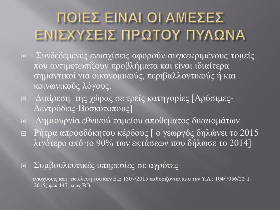 Η κατανομή για την Ελλάδα για κάθε έτος των άμεσων ενισχύσεων έχει ως ( πρώτος Πυλώνας )