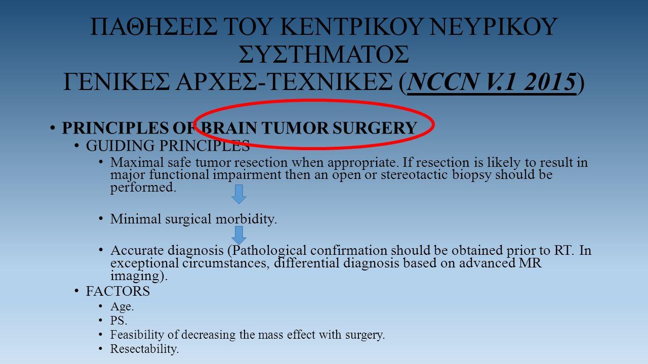 ΠΑΘΗΣΕΙΣ ΤΟΥ ΚΕΝΤΡΙΚΟΥ ΝΕΥΡΙΚΟΥ ΣΥΣΤΗΜΑΤΟΣ ΓΕΝΙΚΕΣ ΑΡΧΕΣ-TEXNIΚΕΣ (NCCN V.1 2015) PRINCIPLES OF BRAIN TUMOR SURGERY GUIDING PRINCIPLES Maximal safe tumor resection when appropriate.