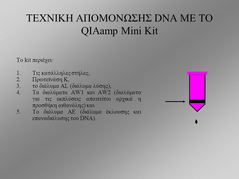 ΤΕΧΝΙΚΗ ΑΠΟΜΟΝΩΣΗΣ DNA ΜΕ ΤΟ QIAamp Mini Kit Η απομόνωση βασίζεται στη χρησιμοποίηση στηλών που φέρουν φίλτρα/μεμβράνες από πηκτή σιλικόνης η οποία δεσμεύει εκλεκτικά νουκλεϊκά οξέα, ενώ είναι διαπερατή από πρωτεΐνες και δισθενή κατιόντα που μπορεί να αναστείλουν την DNA πολυμεράση κατά την αντίδραση PCR