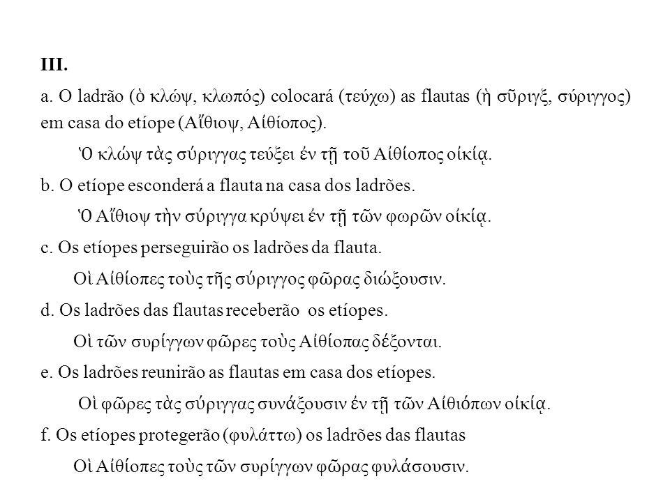 III. a. O ladrão ( ὁ κλώψ, κλωπός) colocará (τεύχω) as flautas ( ἡ σ ῦ ριγξ, σύριγγoς) em casa do etíope (Α ἴ θιοψ, Α ἰ θίοπος). Ὁ κλ ώ ψ τ ὰ ς σ ύ ρι