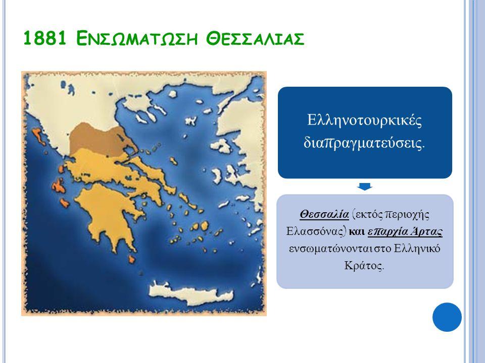 1881 Ε ΝΣΩΜΑΤΩΣΗ Θ ΕΣΣΑΛΙΑΣ Ελληνοτουρκικές δια π ραγματεύσεις. Θεσσαλία ( εκτός π εριοχής Ελασσόνας ) και ε π αρχία Άρτας ενσωματώνονται στο Ελληνικό
