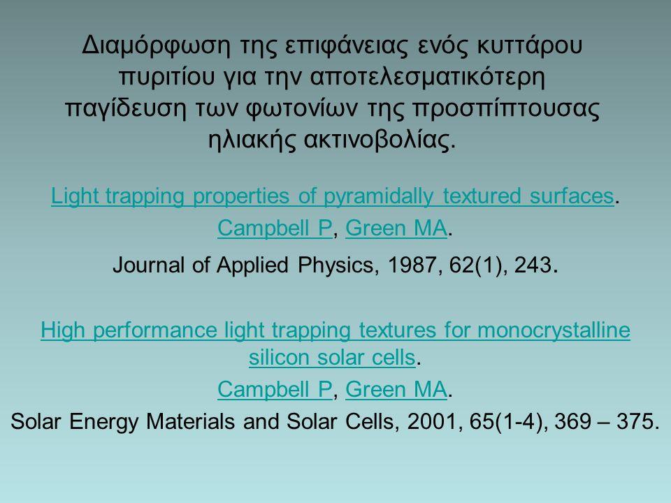 Διαμόρφωση της επιφάνειας ενός κυττάρου πυριτίου για την αποτελεσματικότερη παγίδευση των φωτονίων της προσπίπτουσας ηλιακής ακτινοβολίας.