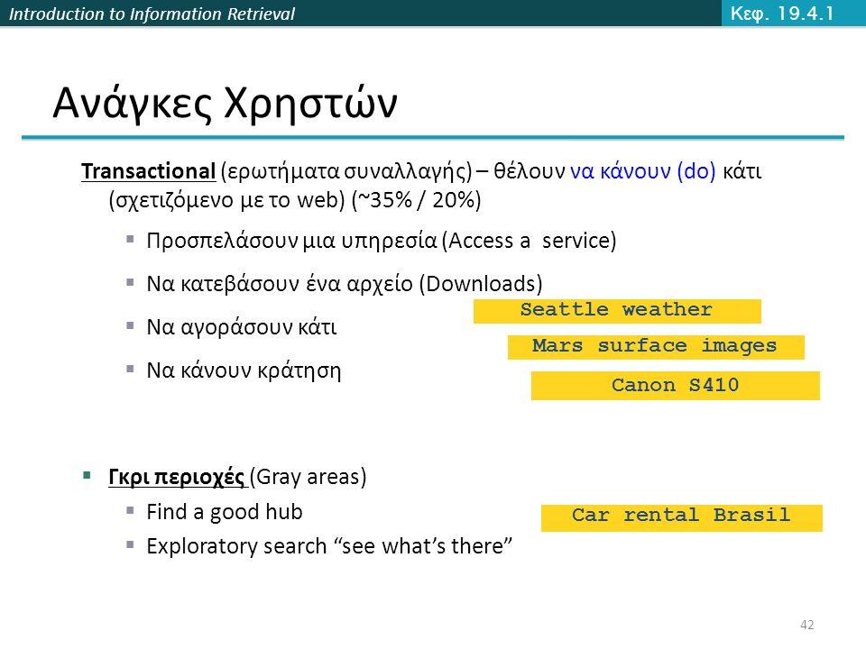 Introduction to Information Retrieval Ανάγκες Χρηστών Transactional (ερωτήματα συναλλαγής) – θέλουν να κάνουν (do) κάτι (σχετιζόμενο με το web) (~35% / 20%)  Προσπελάσουν μια υπηρεσία (Access a service)  Να κατεβάσουν ένα αρχείο (Downloads)  Να αγοράσουν κάτι  Να κάνουν κράτηση  Γκρι περιοχές (Gray areas)  Find a good hub  Exploratory search see what's there Seattle weather Mars surface images Canon S410 Car rental Brasil Κεφ.