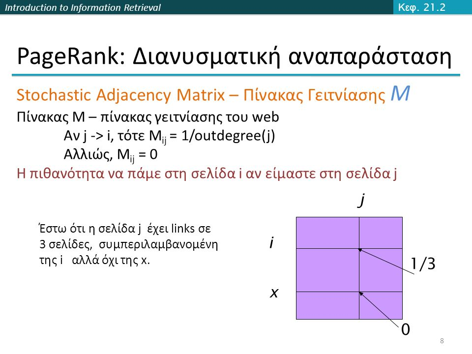 Introduction to Information Retrieval PageRank: Διανυσματική αναπαράσταση 8 Κεφ. 21.2 Stochastic Adjacency Matrix – Πίνακας Γειτνίασης Μ Πίνακας M – π