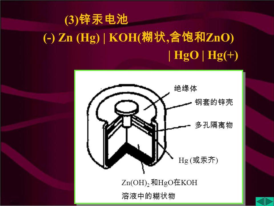 (1) 酸性锌锰干电池 (-) Zn | ZnCl 2, NH 4 Cl( 糊状 ) | MnO 2 | C (+) (2) 碱性锌锰干电池