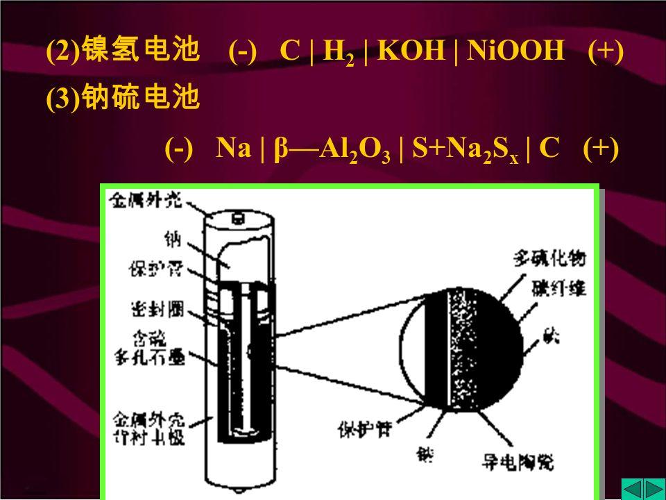 (1) 铅蓄电池 (-) Pb | H 2 SO 4 (1.25~1.30g·cm -3 ) | PbO 2 (+)