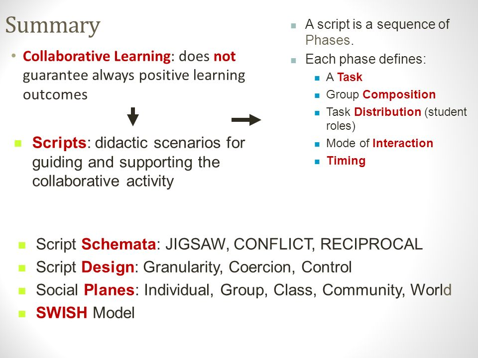 Summary Collaborative Learning: does not guarantee always positive learning outcomes Script Schemata: JIGSAW, CONFLICT, RECIPROCAL Script Design: Granularity, Coercion, Control Social Planes: Individual, Group, Class, Community, World SWISH Model A script is a sequence of Phases.