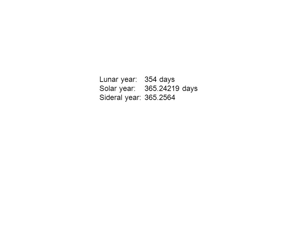 Lunar year: 354 days Solar year: 365.24219 days Sideral year: 365.2564