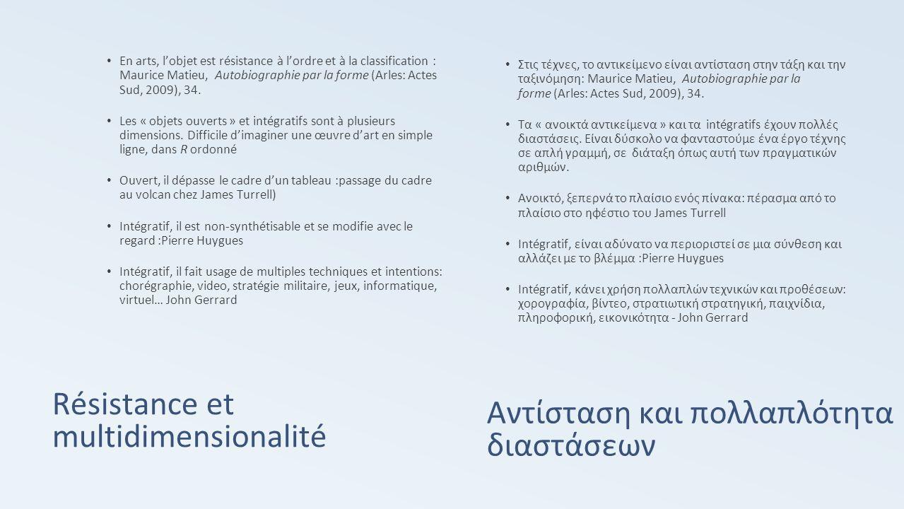 Résistance et multidimensionalité En arts, l'objet est résistance à l'ordre et à la classification : Maurice Matieu, Autobiographie par la forme (Arles: Actes Sud, 2009), 34.