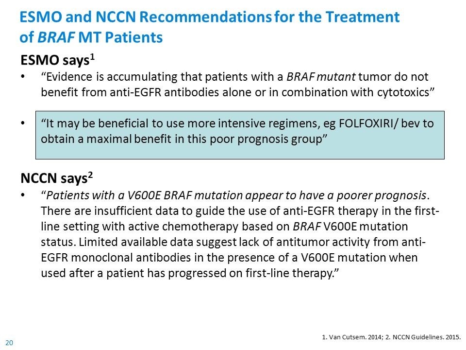 20 ESMO and NCCN Recommendations for the Treatment of BRAF MT Patients 1.