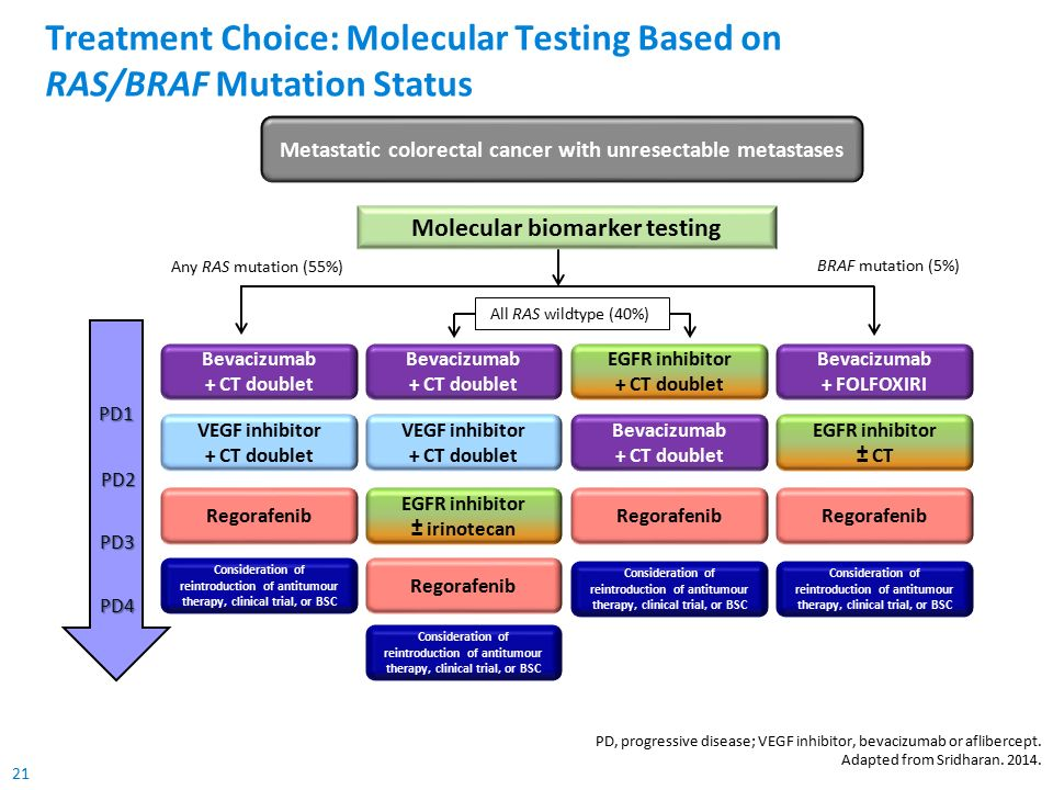 21 Treatment Choice: Molecular Testing Based on RAS/BRAF Mutation Status PD, progressive disease; VEGF inhibitor, bevacizumab or aflibercept. Adapted