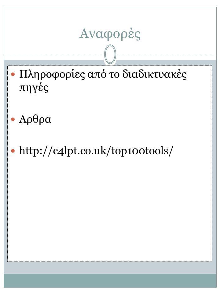Αναφορές Πληροφορίες από το διαδικτυακές πηγές Αρθρα http://c4lpt.co.uk/top100tools/